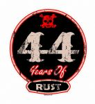 Distressed Aged 44 Years Of Rust Motif For Retro Rat Look VW etc. External Vinyl Car Sticker 100x90mm (9) (17)